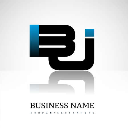 Initial letter BJ uppercase modern and simple logo linked blue and black colored, isolated in white background. Vector design for company identity.