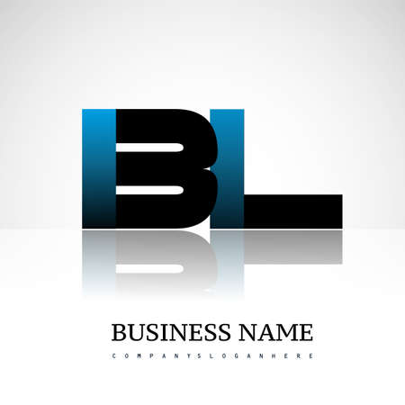 Initial letter BL uppercase modern and simple logo linked blue and black colored, isolated in white background. Vector design for company identity.