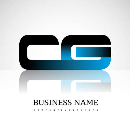 Initial letter CG uppercase modern and simple logo linked blue and black colored, isolated in white background. Vector design for company identity.