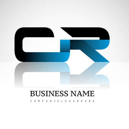 Initial letter CR uppercase modern and simple logo linked blue and black colored, isolated in white background. Vector design for company identity.
