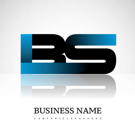 Initial letter BS uppercase modern and simple logo linked blue and black colored, isolated in white background. Vector design for company identity.
