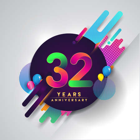 32nd years Anniversary logo with colorful abstract background, vector design template elements for invitation card and poster your birthday celebration. Illustration