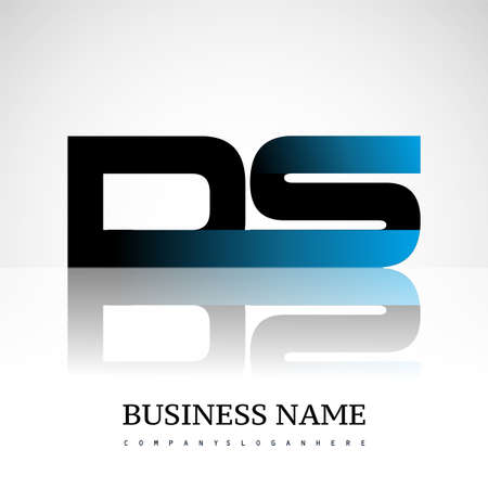 Initial letter DS uppercase modern and simple logo linked blue and black colored, isolated in white background. Vector design for company identity.