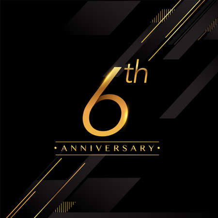 6th anniversary logo golden colored isolated on black background, vector design for greeting card and invitation card.