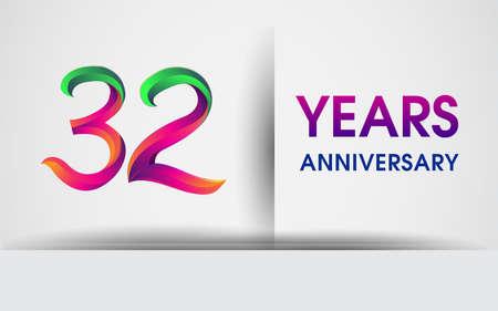 32nd Anniversary celebration logo, colorful design logotype isolated on white background.