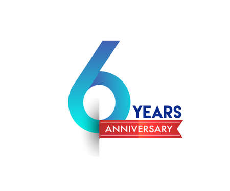 6th Anniversary celebration logotype blue colored with red ribbon, isolated on white background.