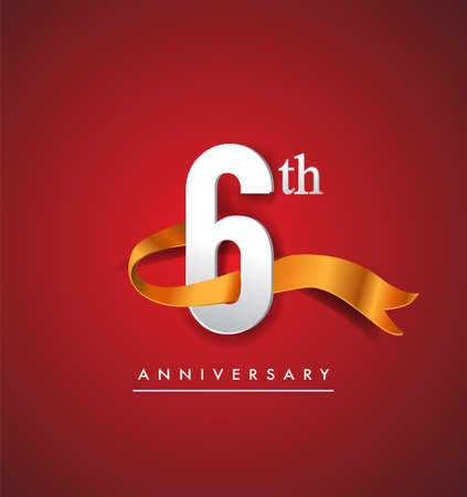 6th anniversary logotype with golden ribbon isolated on red elegance background, vector design for birthday celebration, greeting card and invitation card. 矢量图像