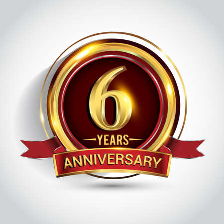 6th golden anniversary logo with ring and red ribbon isolated on white background