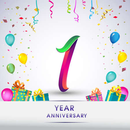 1st Anniversary Celebration Design, with gift box, balloons and confetti, Colorful Vector template elements for birthday celebration party.