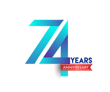 74th Anniversary celebration logotype blue colored with red ribbon, isolated on white background. Logo