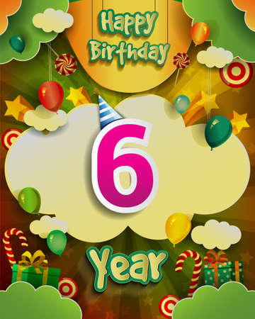 6th Birthday Celebration greeting card Design, with clouds and balloons. Vector elements for anniversary celebration.