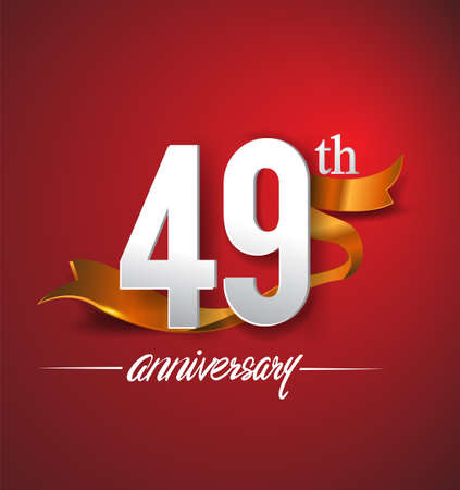 49th anniversary logotype with golden ribbon isolated on red elegance background, vector design for birthday celebration, greeting card and invitation card.