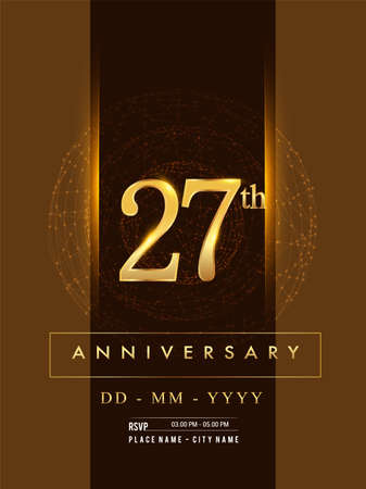 27th anniversary poster design on golden and elegant background, vector design for anniversary celebration, greeting card and invitation card. Stock Illustratie
