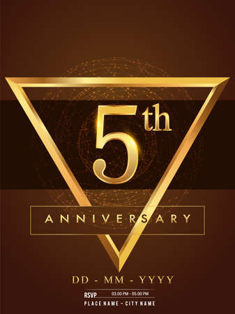 5th anniversary poster design on golden and elegant background, vector design for anniversary celebration, greeting card and invitation card.