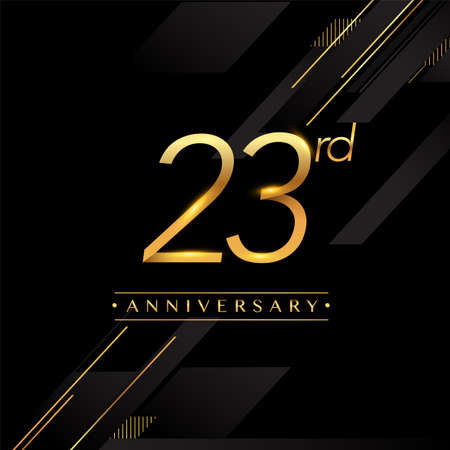 23rd anniversary logo golden colored isolated on black background, vector design for greeting card and invitation card. Stockfoto - 151059307