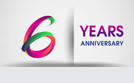 6th Anniversary celebration logo, colorful design logotype isolated on white background.
