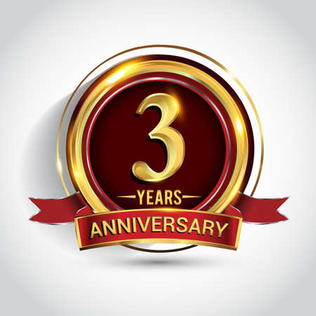 3rd golden anniversary logo with ring and red ribbon isolated on white background