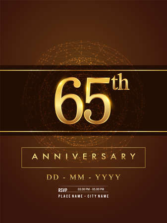 65th anniversary poster design on golden and elegant background, vector design for anniversary celebration, greeting card and invitation card.