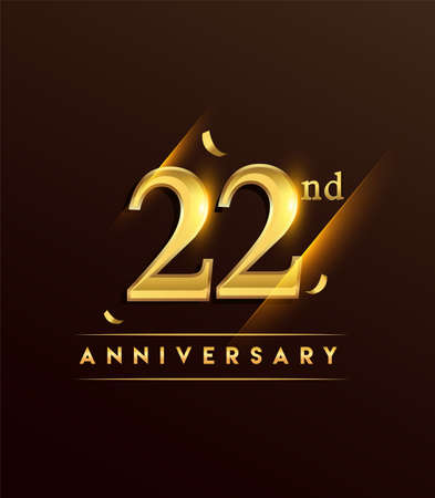 22nd anniversary glowing logotype with confetti golden colored isolated on dark background, vector design for greeting card and invitation card.