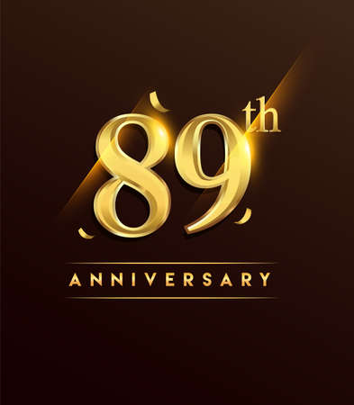 89th anniversary glowing logotype with confetti golden colored isolated on dark background, vector design for greeting card and invitation card.