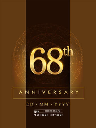 68th anniversary poster design on golden and elegant background, vector design for anniversary celebration, greeting card and invitation card.