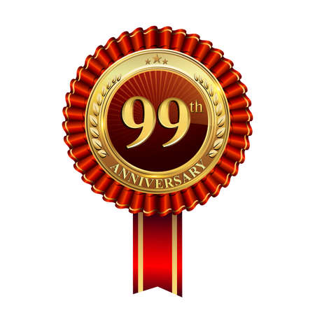Celebrating 99th anniversary logo, with golden badge and red ribbon isolated on white background. Stockfoto - 151059459