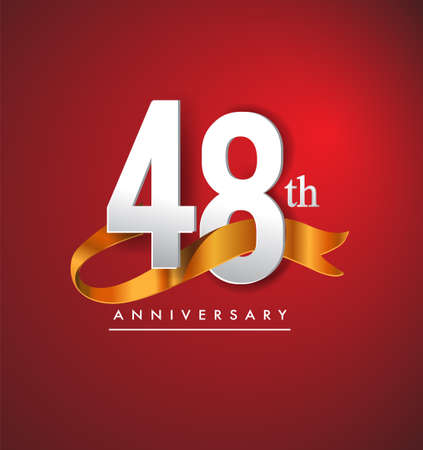 48th anniversary logotype with golden ribbon isolated on red elegance background, vector design for birthday celebration, greeting card and invitation card.