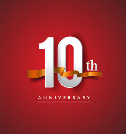10th anniversary logotype with golden ribbon isolated on red elegance background, vector design for birthday celebration, greeting card and invitation card. Stockfoto - 151059634