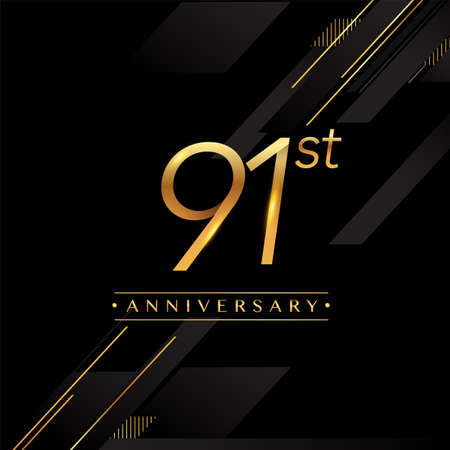91st anniversary logo golden colored isolated on black background, vector design for greeting card and invitation card.