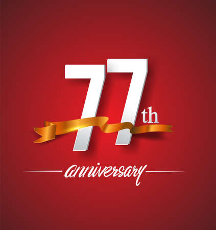 77th anniversary logotype with golden ribbon isolated on red elegance background, vector design for birthday celebration, greeting card and invitation card.