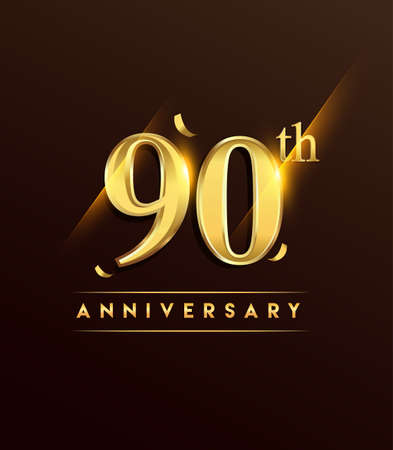 90th anniversary glowing logotype with confetti golden colored isolated on dark background, vector design for greeting card and invitation card.