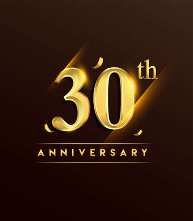 30th anniversary glowing logotype with confetti golden colored isolated on dark background, vector design for greeting card and invitation card. Stock Illustratie