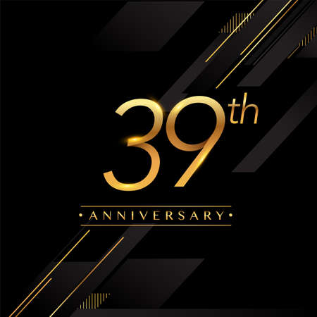 39th anniversary logo golden colored isolated on black background, vector design for greeting card and invitation card. Stockfoto - 151059644