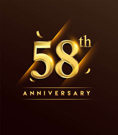 58th anniversary glowing logotype with confetti golden colored isolated on dark background, vector design for greeting card and invitation card.