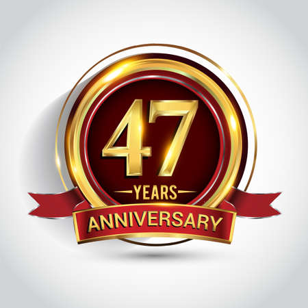 47th golden anniversary logo with ring and red ribbon isolated on white background Stock Illustratie