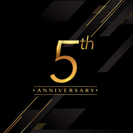 5th anniversary logo golden colored isolated on black background, vector design for greeting card and invitation card.