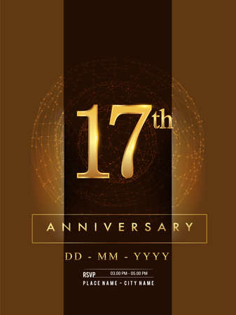 17th anniversary poster design on golden and elegant background, vector design for anniversary celebration, greeting card and invitation card. Stockfoto - 151059650