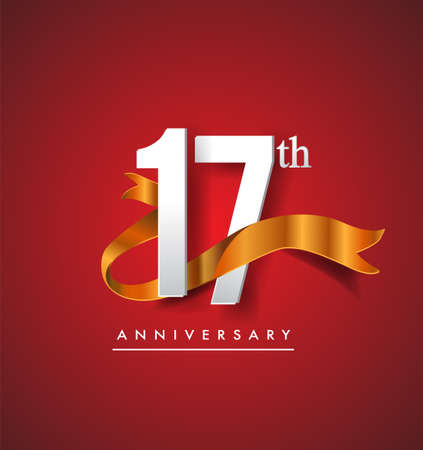 17th anniversary logotype with golden ribbon isolated on red elegance background, vector design for birthday celebration, greeting card and invitation card. Stockfoto - 151059652