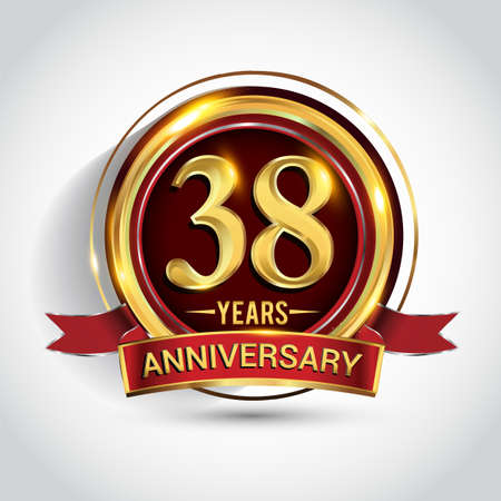 38th golden anniversary logo with ring and red ribbon isolated on white background