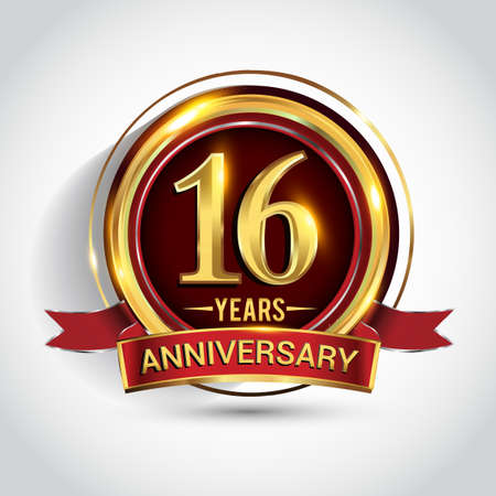 16th golden anniversary logo with ring and red ribbon isolated on white background