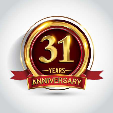 31st golden anniversary logo with ring and red ribbon isolated on white background Stockfoto - 151059665