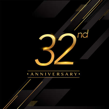 32nd anniversary logo golden colored isolated on black background, vector design for greeting card and invitation card. Stockfoto - 151059666
