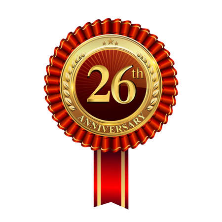 Celebrating 26th anniversary logo, with golden badge and red ribbon isolated on white background.