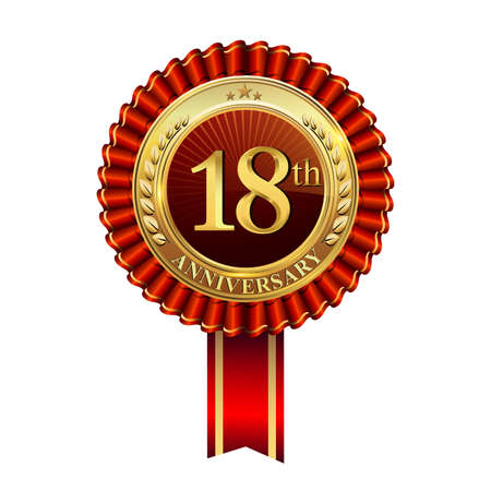 Celebrating 18th anniversary logo, with golden badge and red ribbon isolated on white background.