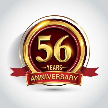 56th golden anniversary logo with ring and red ribbon isolated on white background