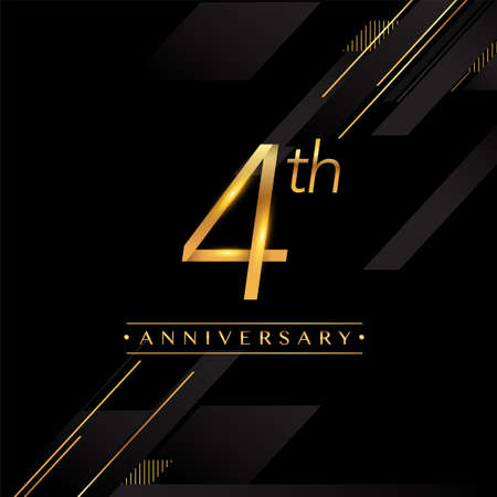 4th anniversary logo golden colored isolated on black background, vector design for greeting card and invitation card.