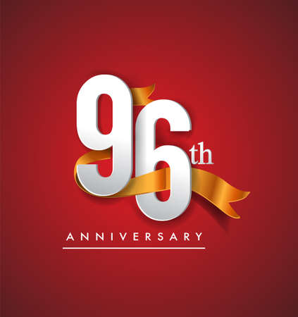 96th anniversary logotype with golden ribbon isolated on red elegance background, vector design for birthday celebration, greeting card and invitation card.