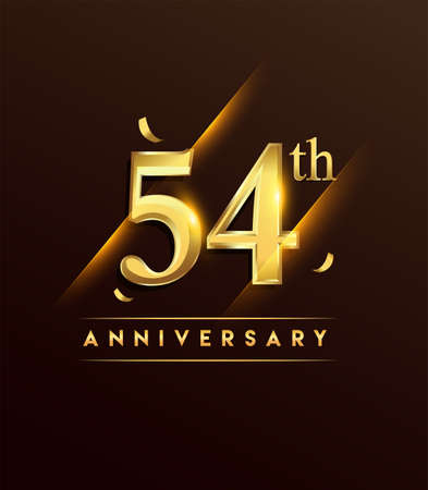 54th anniversary glowing logotype with confetti golden colored isolated on dark background, vector design for greeting card and invitation card. Stock Illustratie