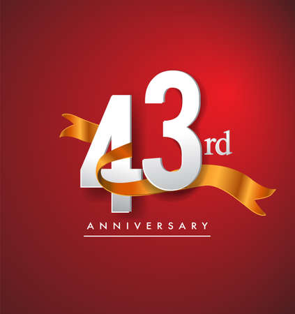 43rd anniversary logotype with golden ribbon isolated on red elegance background, vector design for birthday celebration, greeting card and invitation card.