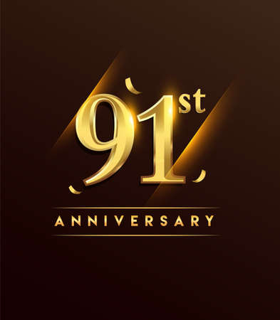 91st anniversary glowing logotype with confetti golden colored isolated on dark background, vector design for greeting card and invitation card.